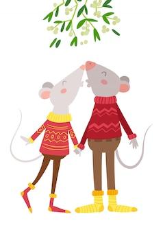Мыши пара поцелуи под омелой плоской векторной иллюстрации