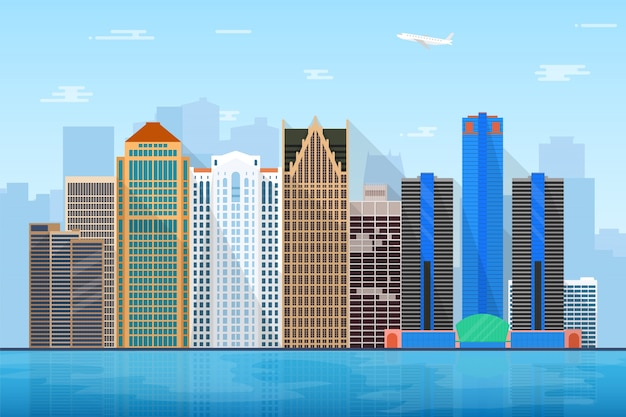 Michigan city skyline illustration