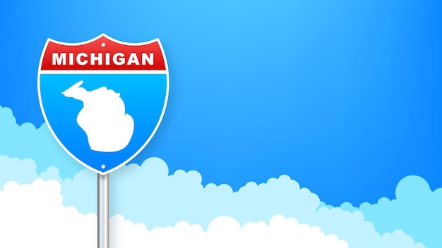 도 표지판에 미시간 지도입니다. 미시간 주에 오신 것을 환영합니다. 벡터 일러스트 레이 션.