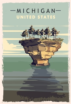 Michigan retro poster. usa michigan travel illustration. united states of america