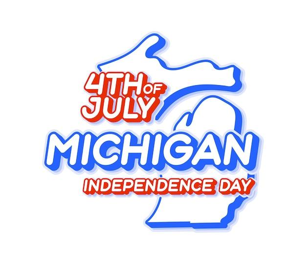 Штат мичиган 4 июля в день независимости с картой и национальным цветом сша в 3d-форме сша