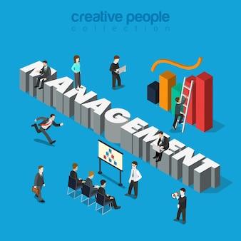 Micro businessmen group big management word key indicator