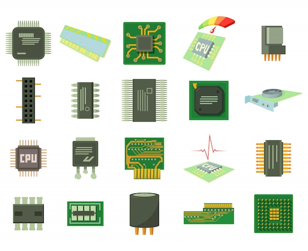Micro chip icon set