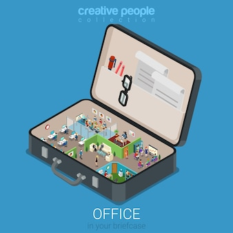 Micro mobile office in big briefcase concept flat 3d web isometric infographic concept