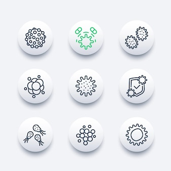 Microbe, virus and bacteria vector line icons