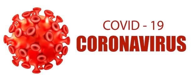 Microbe with covid-19 corona virus logo