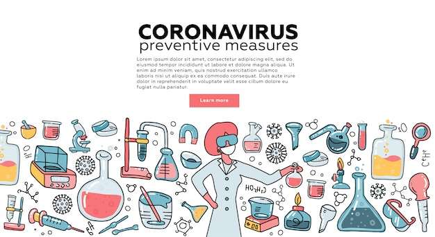 Microbiologist scientist research coronavirus cov in the laboratory surrounded by virus, scientific medical equipment . awareness campiagn. tempalte for landing page. flat  illustration.