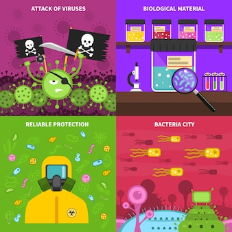 Microbiology background vector image set