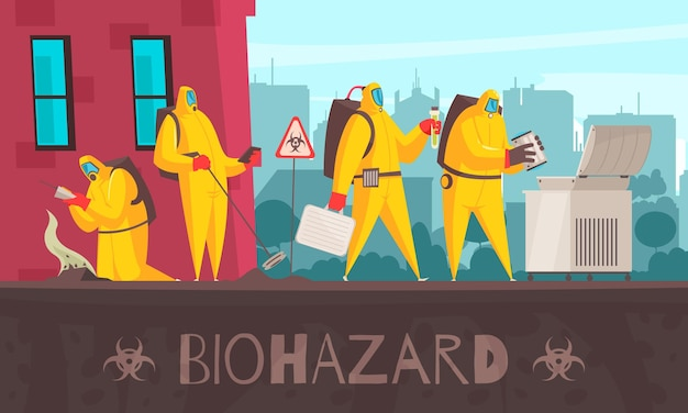 Microbiology composition with text and cityscape  with human characters in biohazard suits making certain observations  illustration