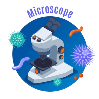 Microbiology isometric background with round composition microscope and different isometric science elements illustration