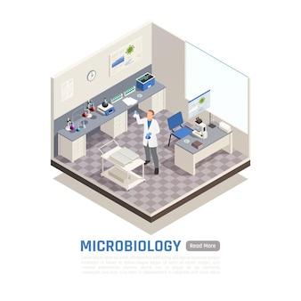 実験室の3dイラストレーションで研究している男性科学者による微生物学の等角投影図
