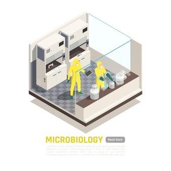 微生物学等角投影図と人のイラスト