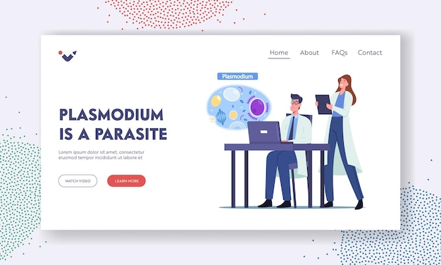 Microbiology landing page template. scientists characters learning plasmodium parasites malaria desease causes. doctor at laptop reading information of cell anatomy cartoon people vector illustration