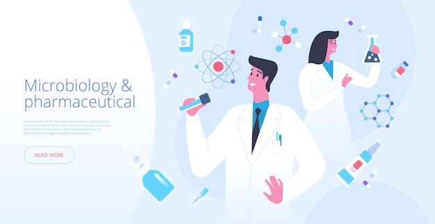 Microbiology landing page vector template. pharmaceutical science website homepage interface idea with flat illustrations. laboratory experiment. futuristic medicine web banner cartoon concept