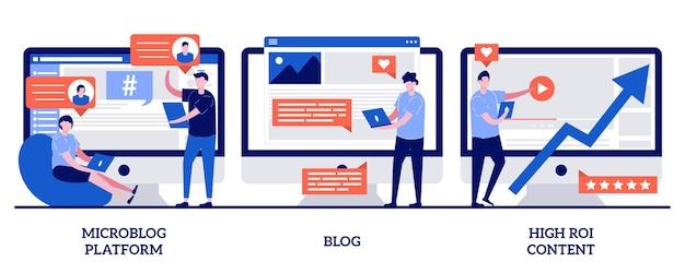 Платформа микроблогов, блог и концепция контента с высоким roi с иллюстрацией крошечных людей