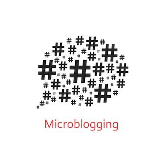 해시태그의 말풍선이 있는 마이크로블로깅 아이콘. 숫자 기호, 네트워크 및 마이크로 블로거의 개념입니다. 흰색 배경에 고립. 평면 스타일 유행 현대 로고 디자인 벡터 일러스트 레이 션