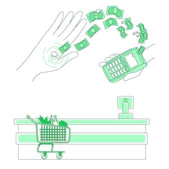 Микрочип и платежный терминал тонкая линия концепции иллюстрации. бесконтактная транзакция, люди с электронными деньгами 2d мультипликационный персонаж для веб-дизайна. устройство встроено в человеческую руку креативную идею