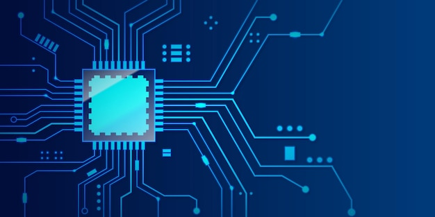 Microchip processor with blue background.