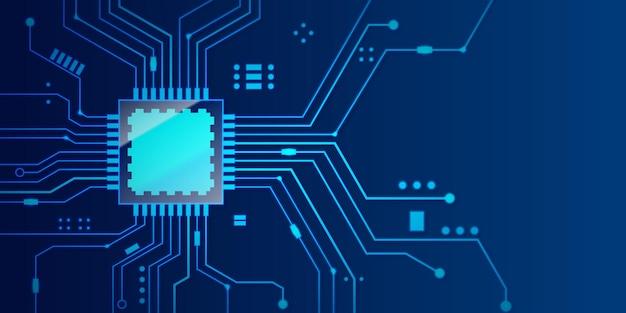 青い背景のマイクロチッププロセッサ。