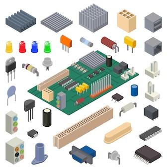 컴퓨터 하드웨어 그림의 마이크로 칩 벡터 디지털 칩 프로세서 기술 집적 회로