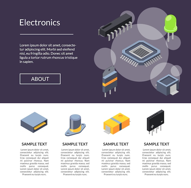 Microchips and electronic parts icons