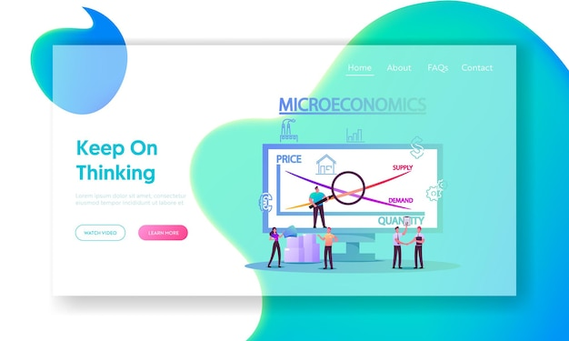 ミクロ経済学のランディングページテンプレート。小さなキャラクターローカルビジネスはお金の利益統計、製品の正の価値を増加させます