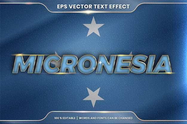 Micronesia with its national country flag, editable text effect style with gradient gold color concept