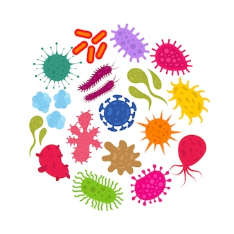 Microorganism and primitive infection virus. bacteria and germs vector icons