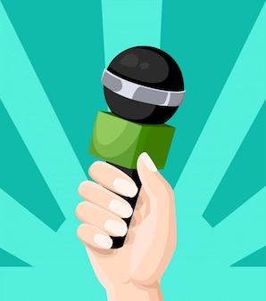 記者のマイクは、背景色が水色のウェブサイトページとモバイルアプリのテレビインタビューブログスタイルのイラストを手します。