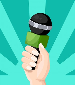 Microphon in reporter hands television interview blogging  style  illustration  on turquoise background website page and mobile app