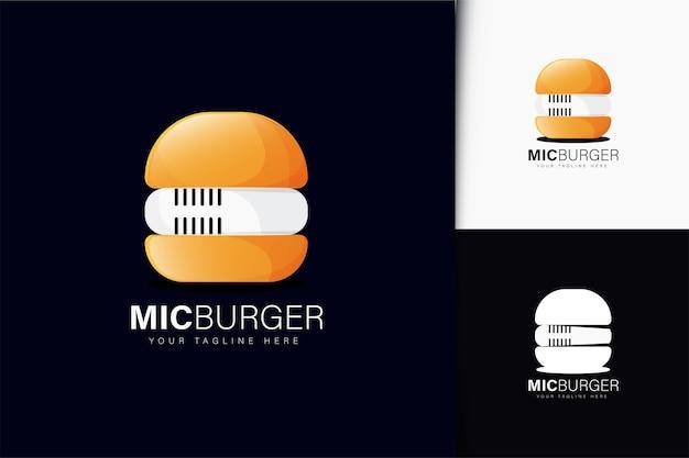 마이크와 햄버거 로고 디자인