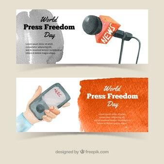 Микрофон и мобильные баннеры акварельные
