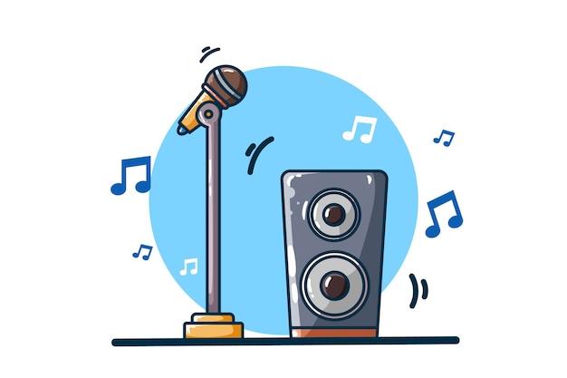 Микрофон и звуковой динамик с музыкальными нотами