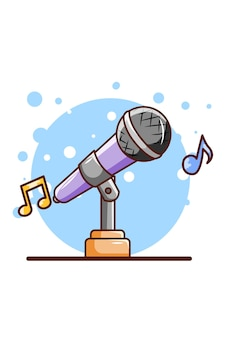 Микрофон для пения иллюстрации шаржа значка