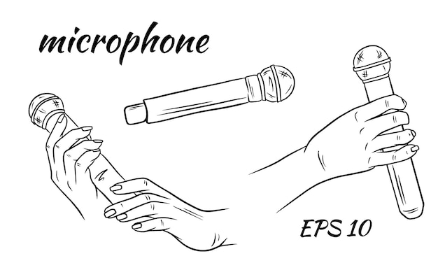 Microphone in hand. sketch style .