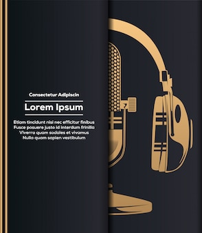 Microphone and headphone in gold