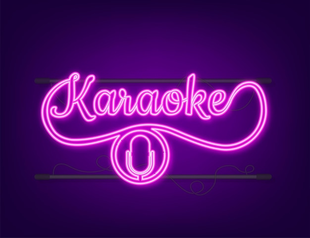 The microphone icon. abstract banner with karaoke. celebration party. karaoke party banner layout. neon icon.