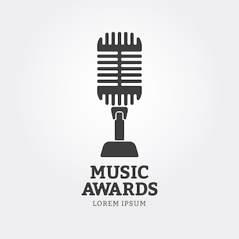 Microphone icon or music awards emblem