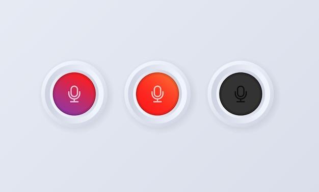 マイクアイコンセット。 3dスタイルの音声パーソナルアシストボタン。音声メッセージ、レコーダー、話すサイン。音声認識。ベクトルイラスト。 eps10