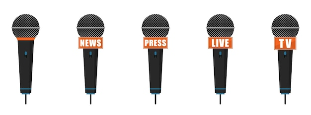 Microphone icons set. press, news, live and tv microphones.