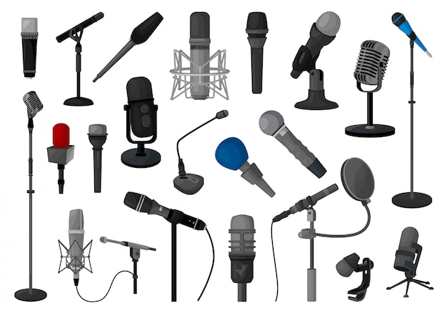 Microphone   illustration  .   cartoon set icon music mic.