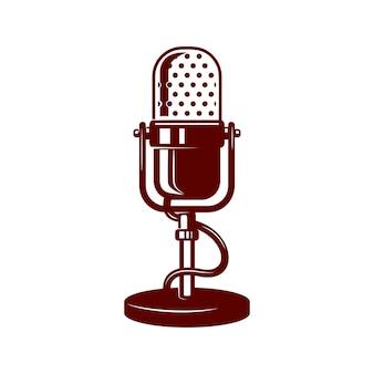 Microphone illustration on white background. design element for logo, label, emblem, sign. vector image