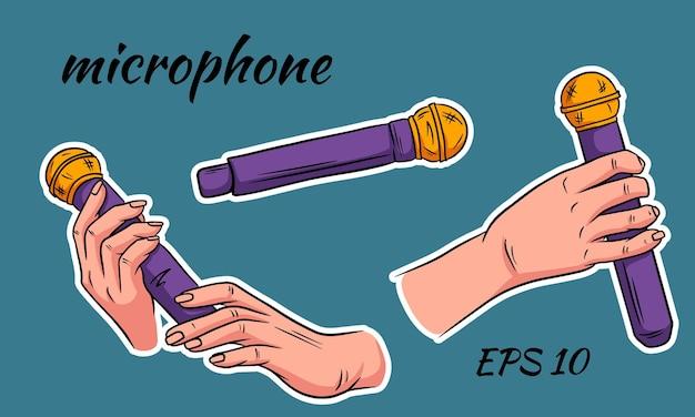 Микрофон в руке. иллюстрация в мультяшном стиле