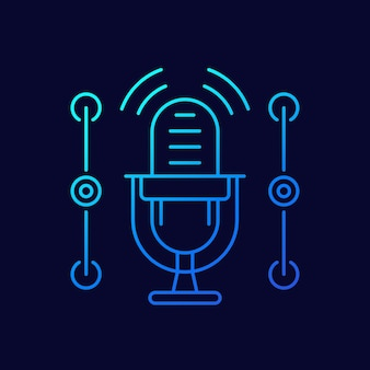 Microphone line icon for apps and web