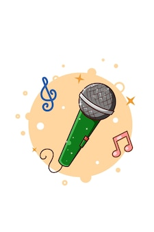 Микрофон музыка значок иллюстрации шаржа