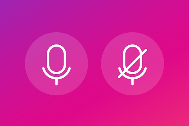 Microphone off and on, line vector icons