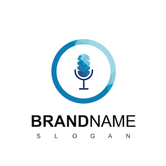 Microphone for podcast business logo