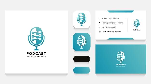 Шаблон логотипа подкаста с микрофоном и визитная карточка