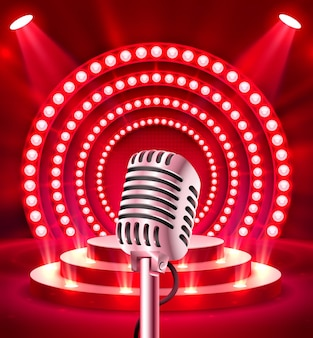 The microphone on the red scene. vector illustration