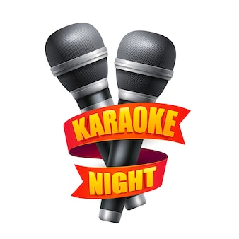 Microphone and ribbon for karaoke night party design.